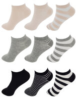 """9er Pack Damen Sneaker Socken """"Streifen-Mix"""" 39 - 42"""