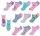 """10er Pack Kinder Sneaker Socken """"Einhorn"""" mit Einhorn-Haargummi 35-38"""