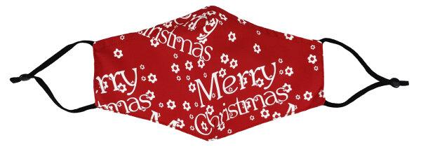 """Mundschutz-Maske mit Aktivkohle-Filter """"X-MAS""""  Baumwoll-Mischgewebe Merry Christmas"""