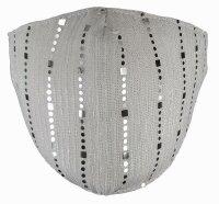 """Mundschutz-Maske """"Glamour"""" 70% Baumwoll-Anteil 3-lagig Glitzer Grau"""