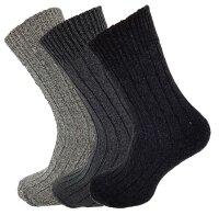 3er Pack Norweger Grobstrick Socken Grau mit 30% Wollanteil und Plüschsohle für Damen und Herren unisex
