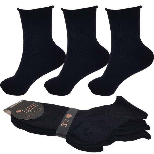 """3er Pack Damen Socken """"Anti Stress"""" mit Komfortbund 35-38 3 x Schwarz"""
