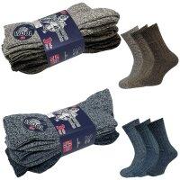 3er Pack Norweger Grobstrick Socken Blau/Braun mit 30%...