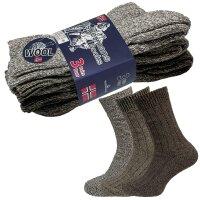 3er Pack Norweger Grobstrick Socken Blau/Braun mit 30% Wollanteil und Plüschsohle für Damen und Herren unisex