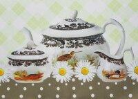 """Tisch-Mitteldecke """"Tea Time"""" 85 x 85 cm pflegeleichte Tischdecke für Küche, Garten, Balkon und Co."""