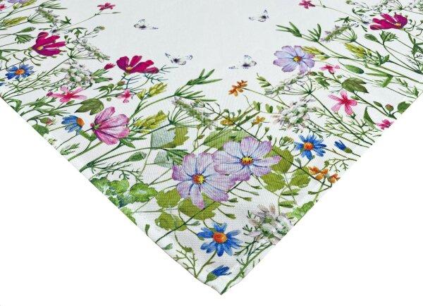 """Tisch-Mitteldecke """"Blumen"""" 85 x 85 cm pflegeleichte Tischdecke für Küche, Garten, Balkon und Co."""