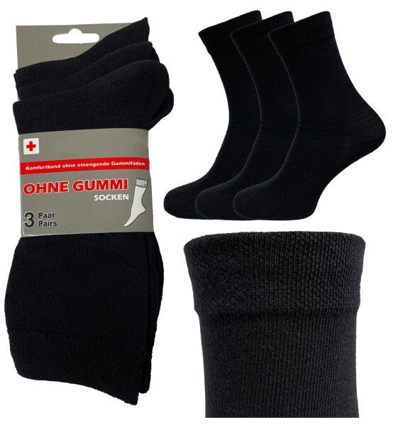 """3er Pack Socken """"Comfort"""" Schwarz für Damen und Herren ohne Gummibund auch Diabetiker geeignet"""