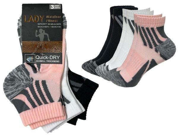 """3er Pack Damen Sport Sneaker Socken """"Marathon"""" atmungsaktives Mesh Gewebe schnell trocknend"""