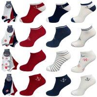 """3er Pack Damen Sneaker Socken """"Anker"""" hoher..."""