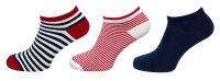 """3er Pack Damen Sneaker Socken """"Anker & Streifen"""" hoher Baumwollanteil"""
