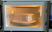 2er Set Mikrowellen-Abdeckhaube transparent Ø 26cm Kunststoff