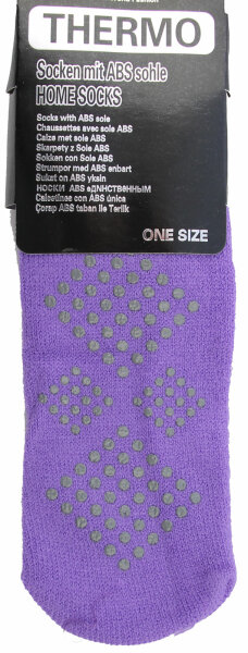 3er PackThermo-Stopper-Socken mit ABS Sohle lila