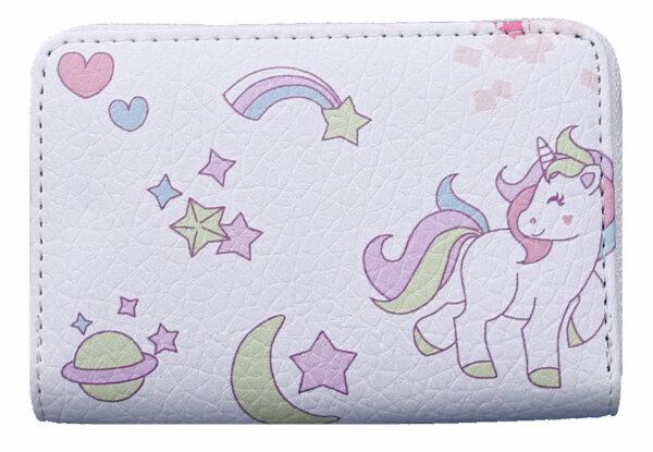 """Kindergeldbörse """"Einhorn"""" weiß Unicorn niedliches Portemonnaie für Mädchen, in drei Farben"""