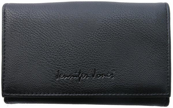 """Damengeldbörse """"Lotta"""" schwarz - schlichtes unifarbenes Design, Portemonnaie in mittlerer Größe für Damen und Mädchen"""